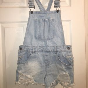 Distressed BONGO Overall Shorts